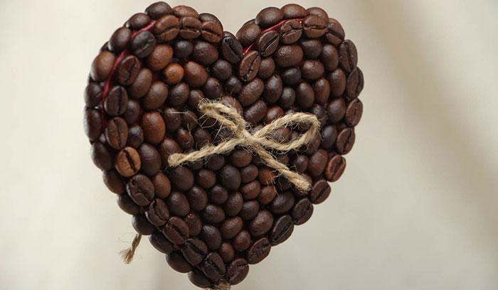 Объемное сердце из кофе