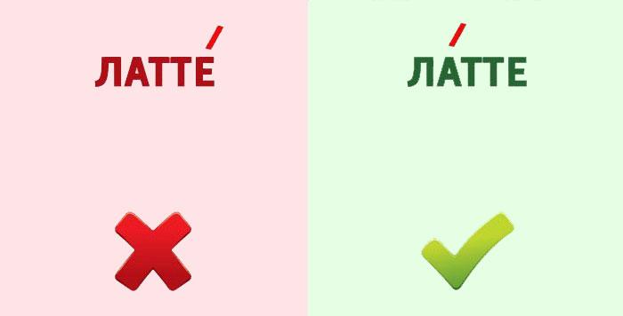 Латте - правильное ударение в слове
